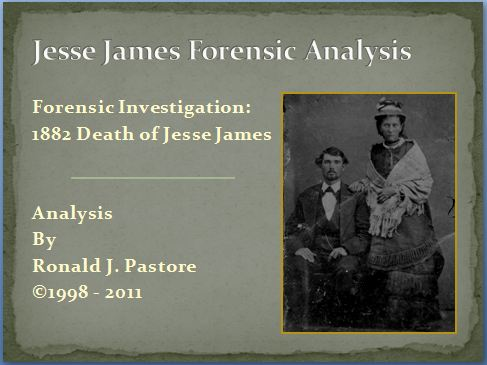 Cover Book Jesse James Forensics Ron Pastore Evidence